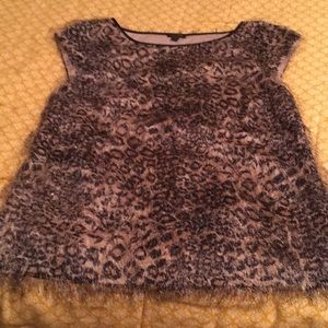 Ann Taylor leopard print mohair shirt